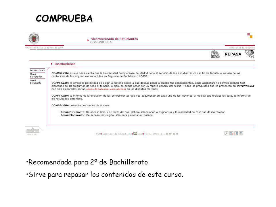 COMPRUEBA Recomendada para 2º de Bachillerato.