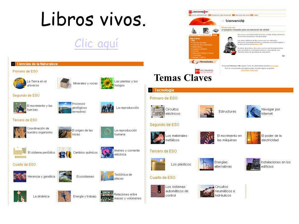 Libros vivos. Clic aquí Temas Claves