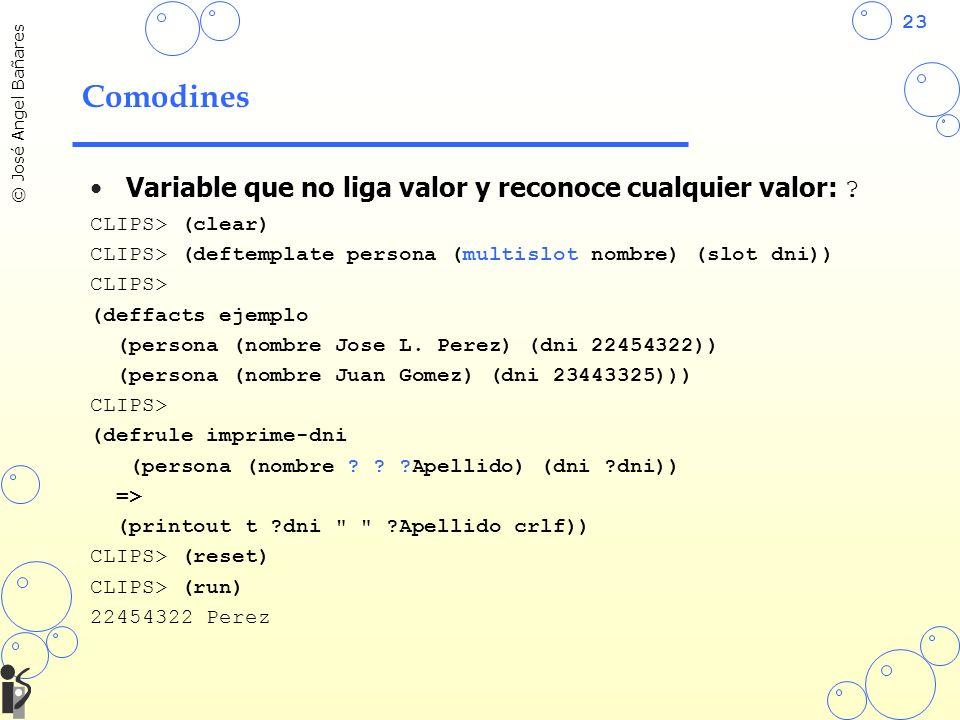 Comodines Variable que no liga valor y reconoce cualquier valor: