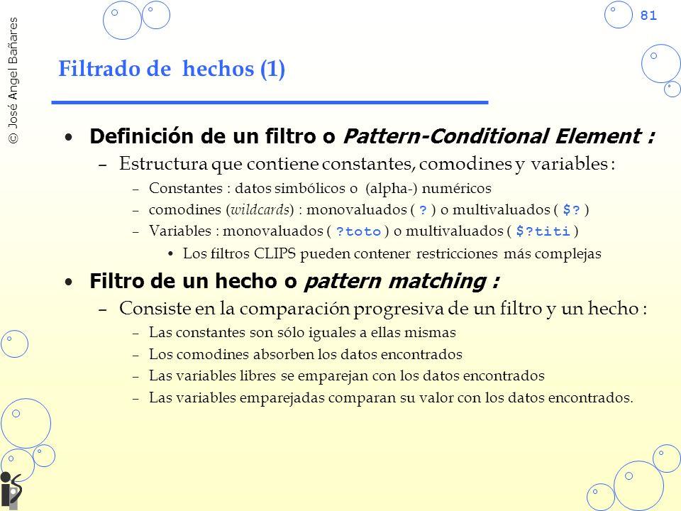 Filtrado de hechos (1) Definición de un filtro o Pattern-Conditional Element : Estructura que contiene constantes, comodines y variables :
