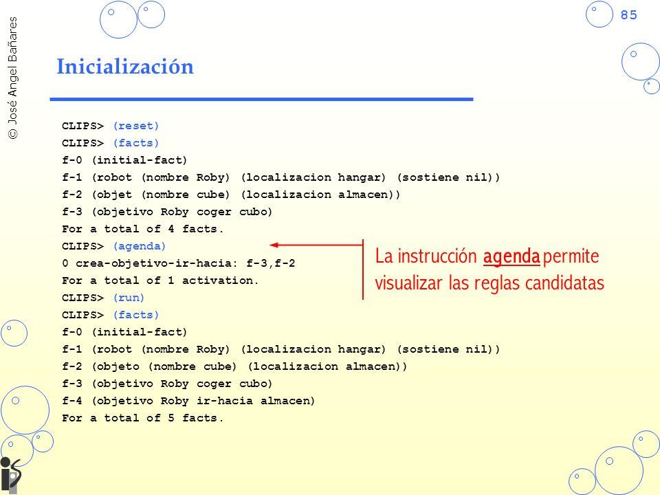 La instrucción agenda permite visualizar las reglas candidatas