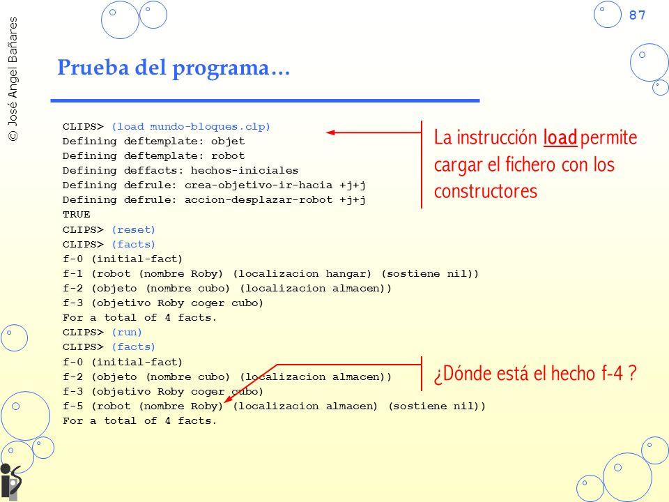 La instrucción load permite cargar el fichero con los constructores