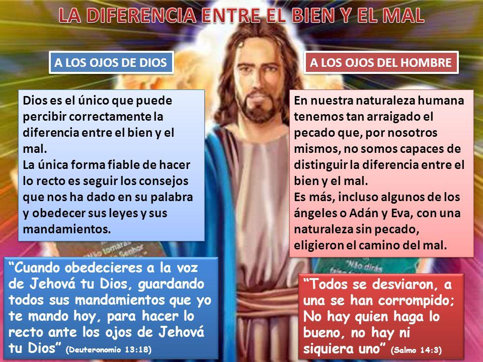 A LOS OJOS DE DIOSA LOS OJOS DEL HOMBRE. Dios es el único que puede percibir correctamente la diferencia entre el bien y el mal.