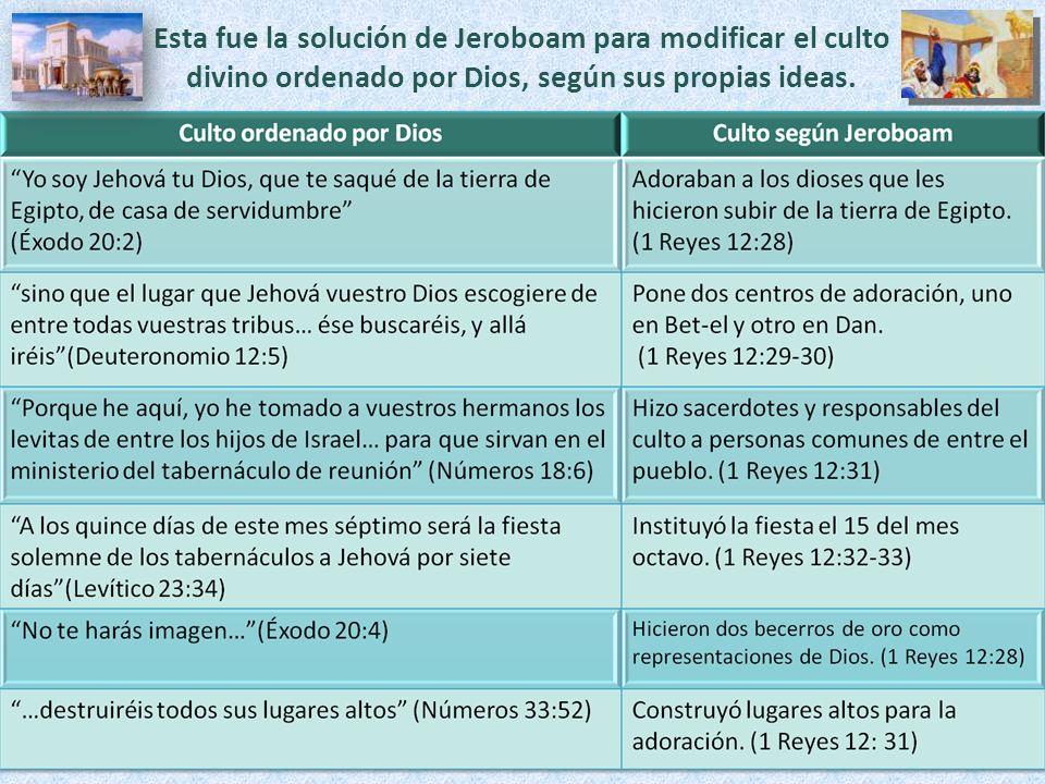 Esta fue la solución de Jeroboam para modificar el culto divino ordenado por Dios, según sus propias ideas.