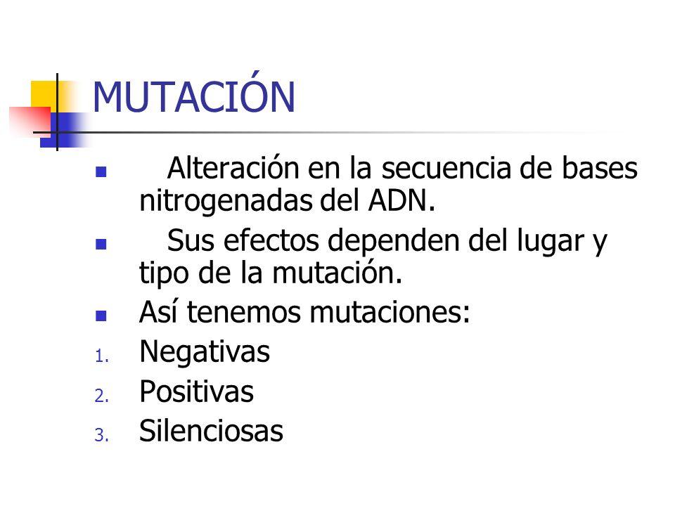MUTACIÓN Alteración en la secuencia de bases nitrogenadas del ADN.