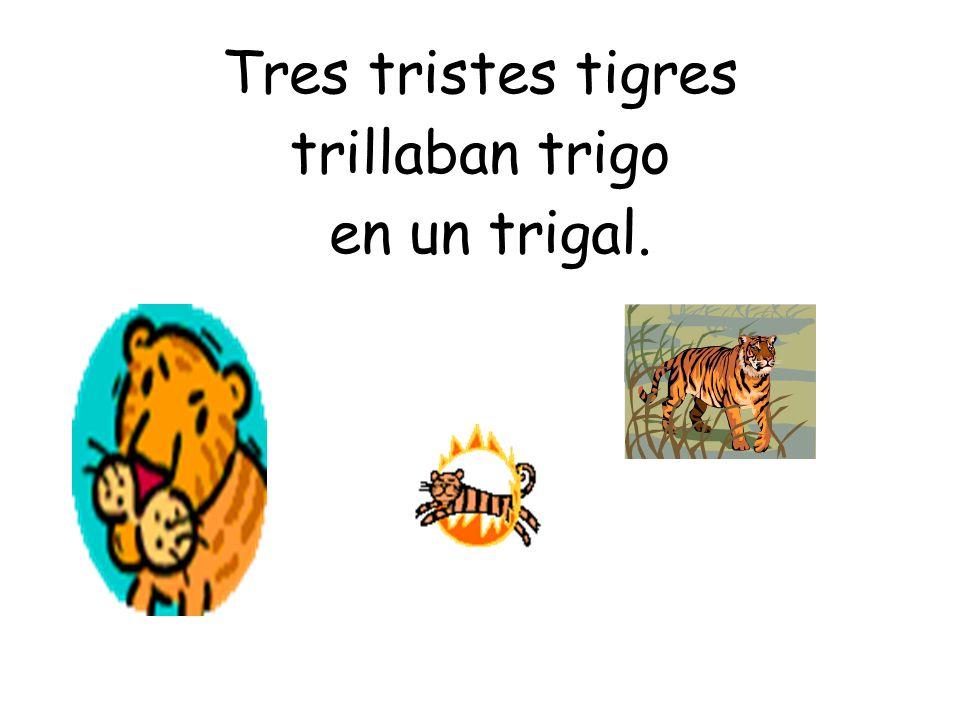 Tres tristes tigres trillaban trigo en un trigal.