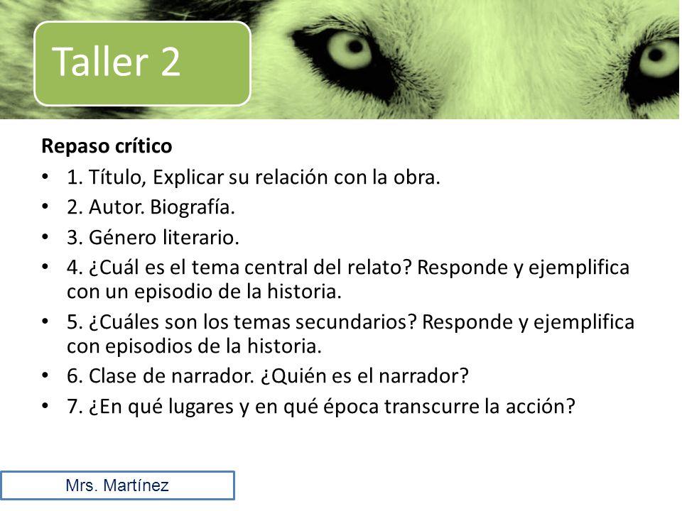 Taller 2 Repaso crítico 1. Título, Explicar su relación con la obra.