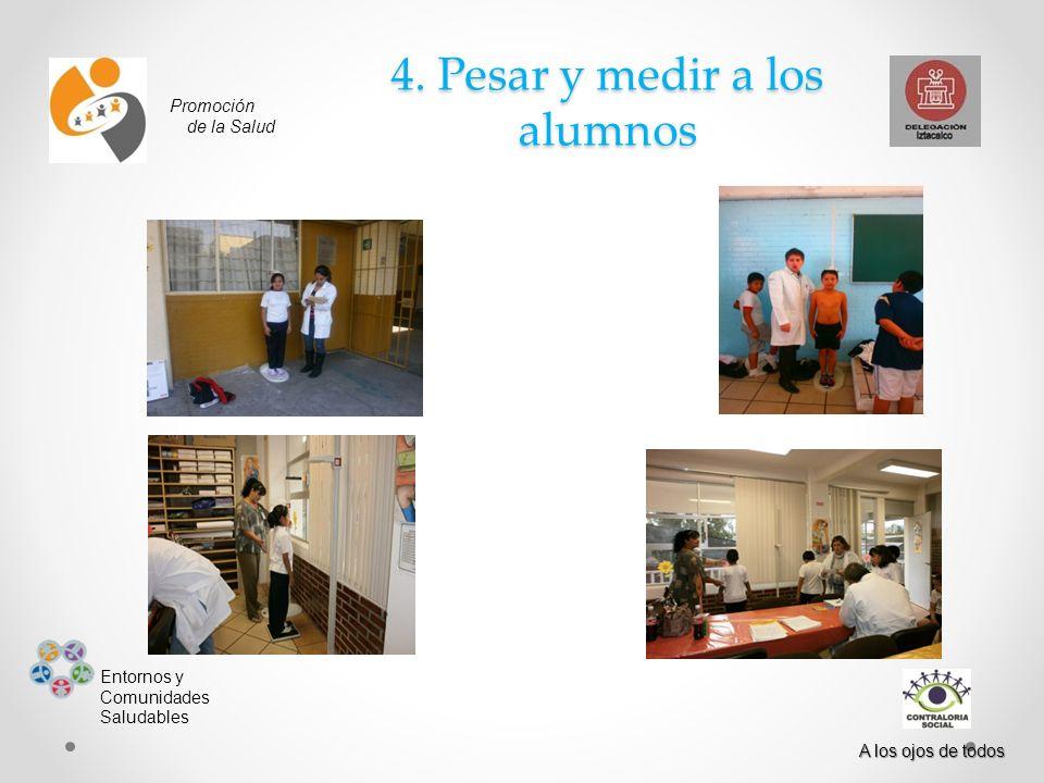 4. Pesar y medir a los alumnos