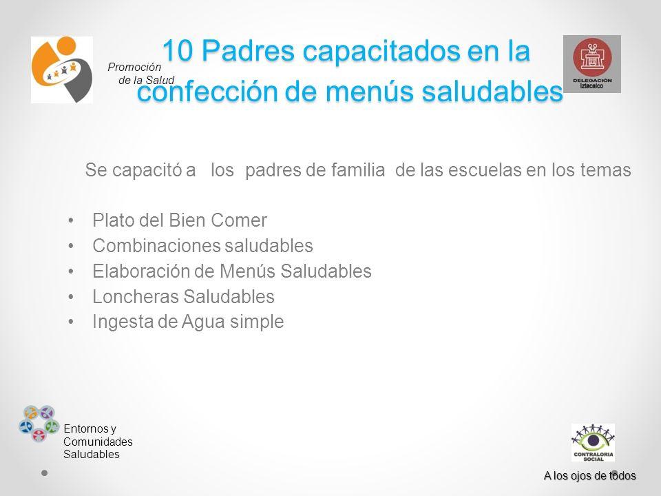 10 Padres capacitados en la confección de menús saludables