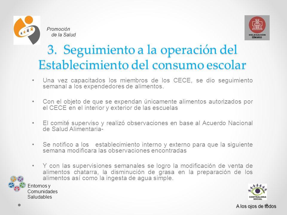 3. Seguimiento a la operación del Establecimiento del consumo escolar