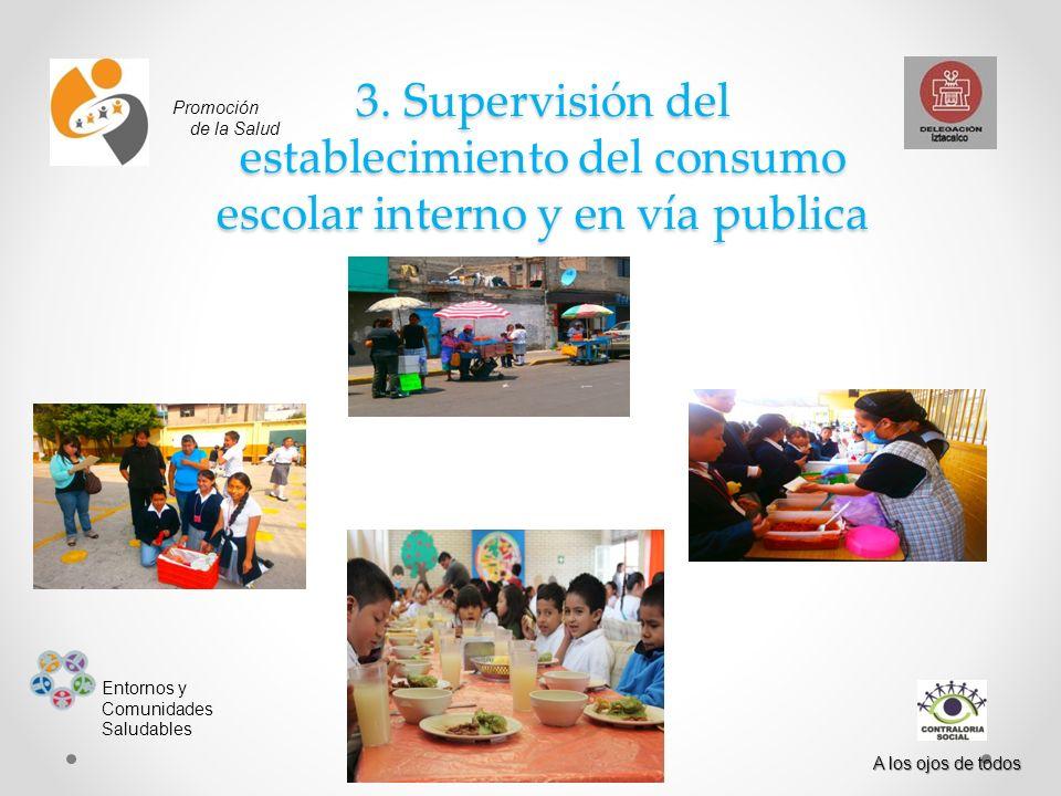 3. Supervisión del establecimiento del consumo escolar interno y en vía publica