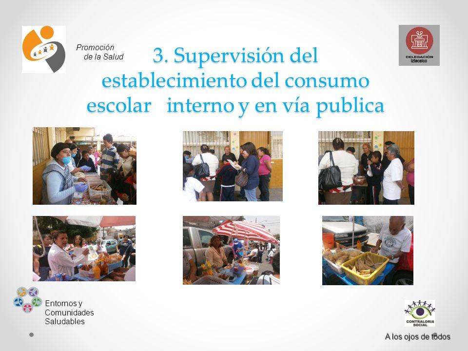Promoción de la Salud. 3. Supervisión del establecimiento del consumo escolar interno y en vía publica.