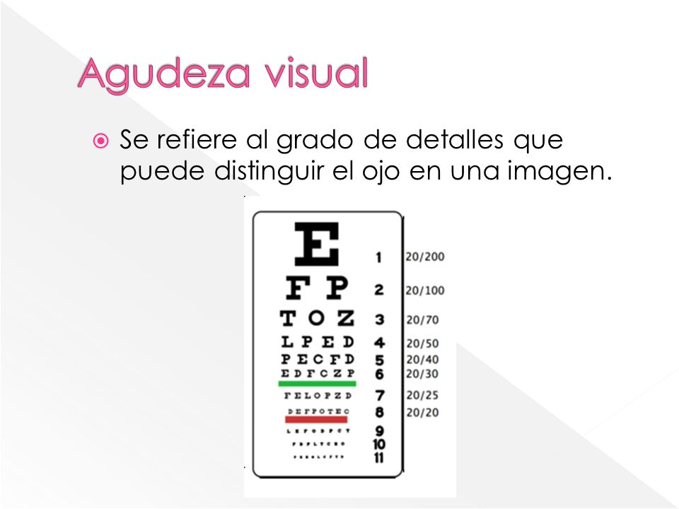 Agudeza visual Se refiere al grado de detalles que puede distinguir el ojo en una imagen.