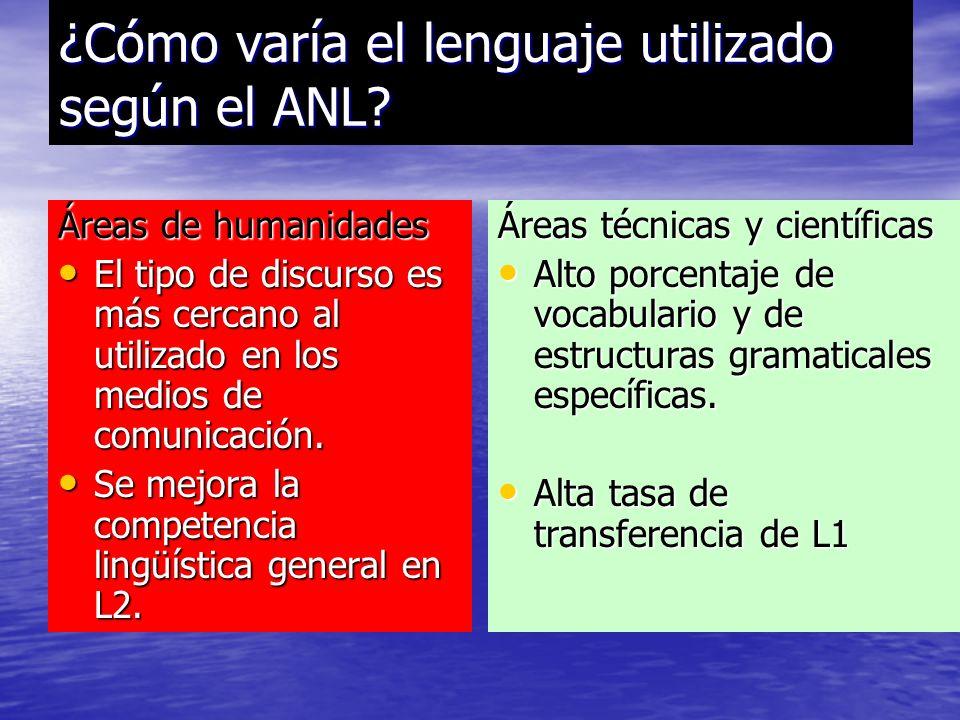 ¿Cómo varía el lenguaje utilizado según el ANL