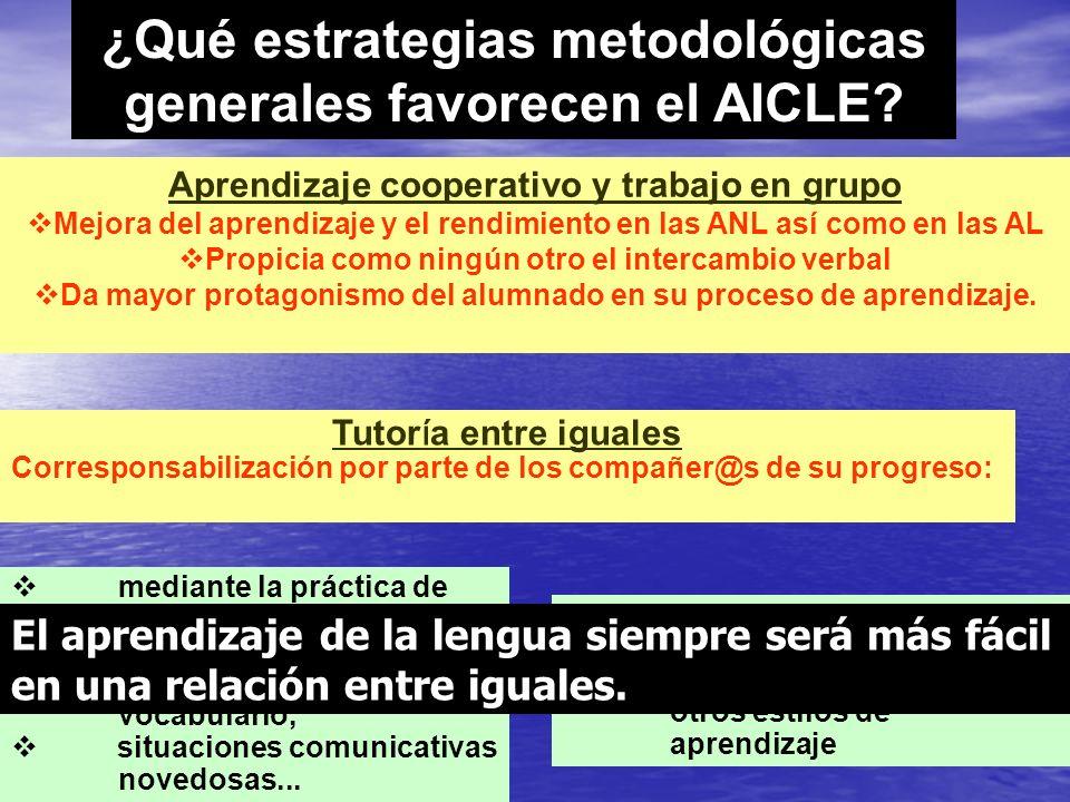 ¿Qué estrategias metodológicas generales favorecen el AICLE