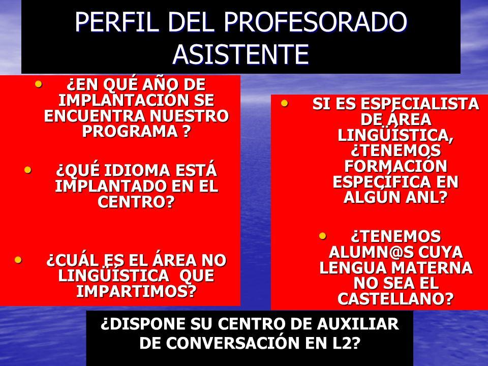PERFIL DEL PROFESORADO ASISTENTE