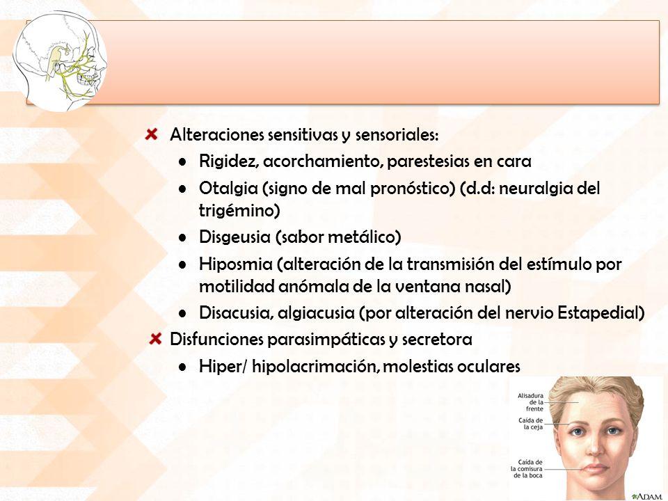 Alteraciones sensitivas y sensoriales: