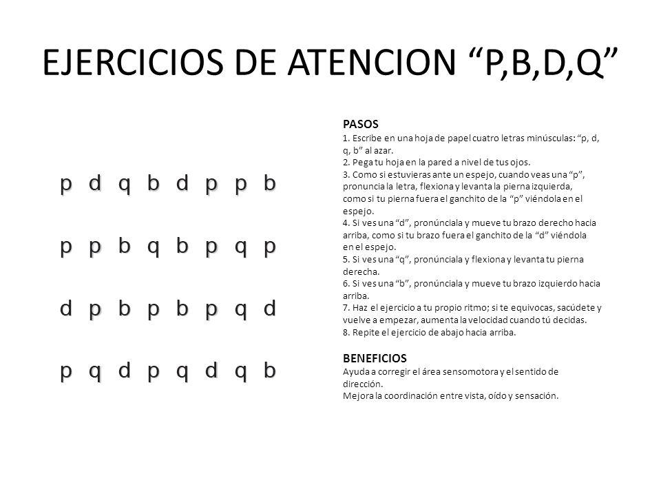EJERCICIOS DE ATENCION P,B,D,Q