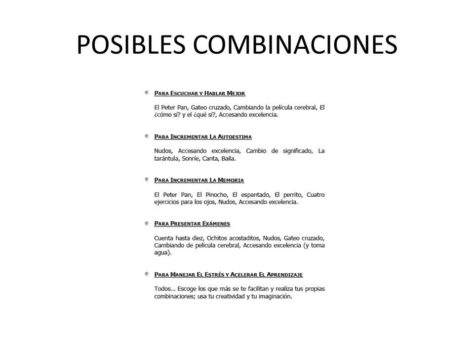 POSIBLES COMBINACIONES