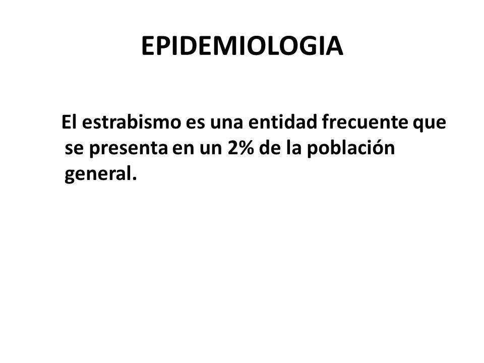 EPIDEMIOLOGIA El estrabismo es una entidad frecuente que se presenta en un 2% de la población general.
