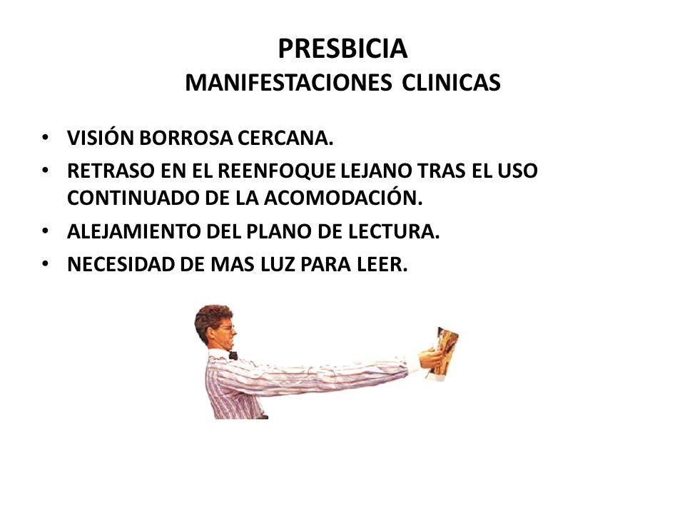 PRESBICIA MANIFESTACIONES CLINICAS