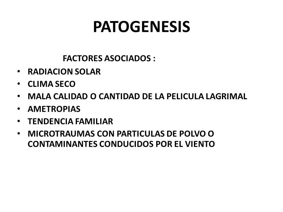 PATOGENESIS FACTORES ASOCIADOS : RADIACION SOLAR CLIMA SECO
