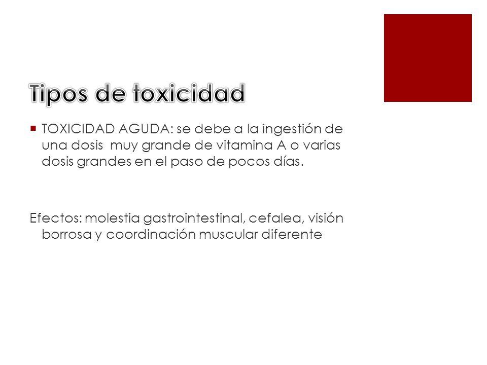 Tipos de toxicidad TOXICIDAD AGUDA: se debe a la ingestión de una dosis muy grande de vitamina A o varias dosis grandes en el paso de pocos días.