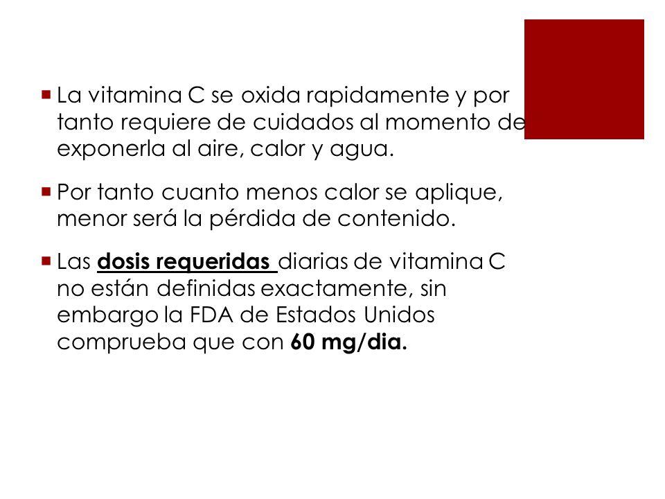 La vitamina C se oxida rapidamente y por tanto requiere de cuidados al momento de exponerla al aire, calor y agua.