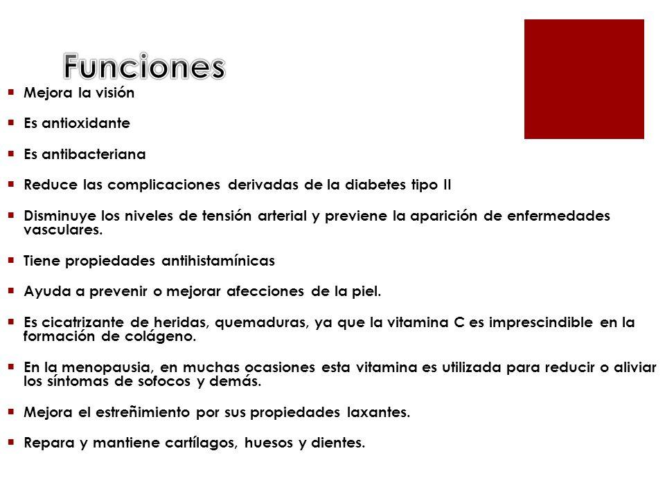 Funciones Mejora la visión Es antioxidante Es antibacteriana