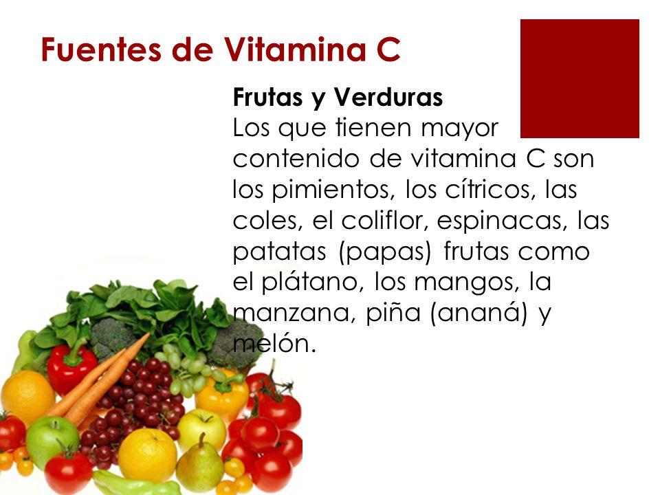 Fuentes de Vitamina C Frutas y Verduras