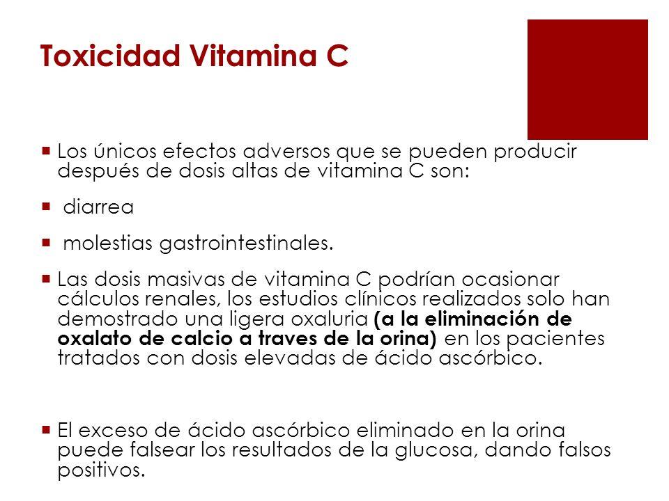 Toxicidad Vitamina CLos únicos efectos adversos que se pueden producir después de dosis altas de vitamina C son:
