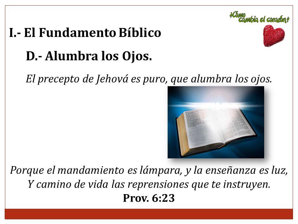El precepto de Jehová es puro, que alumbra los ojos.