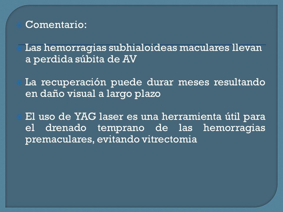 Comentario: Las hemorragias subhialoideas maculares llevan a perdida súbita de AV.