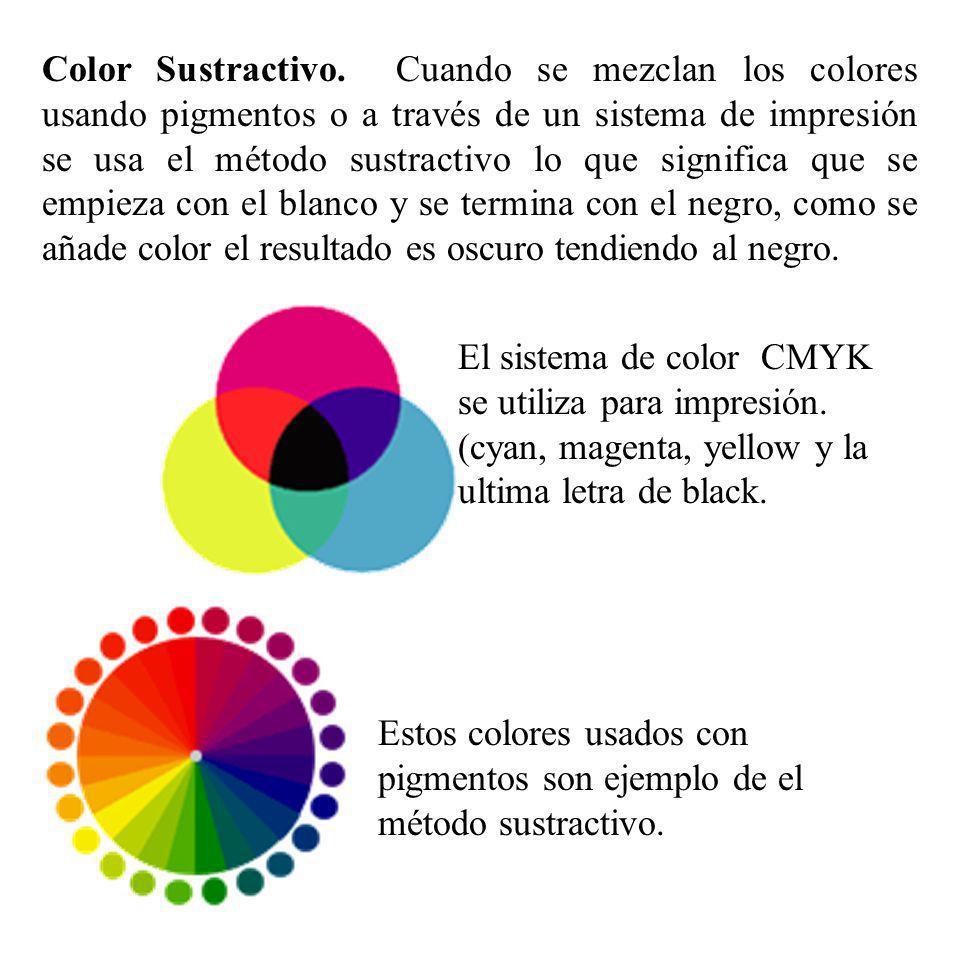 Color Sustractivo. Cuando se mezclan los colores usando pigmentos o a través de un sistema de impresión se usa el método sustractivo lo que significa que se empieza con el blanco y se termina con el negro, como se añade color el resultado es oscuro tendiendo al negro.