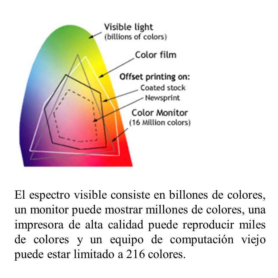 El espectro visible consiste en billones de colores, un monitor puede mostrar millones de colores, una impresora de alta calidad puede reproducir miles de colores y un equipo de computación viejo puede estar limitado a 216 colores.