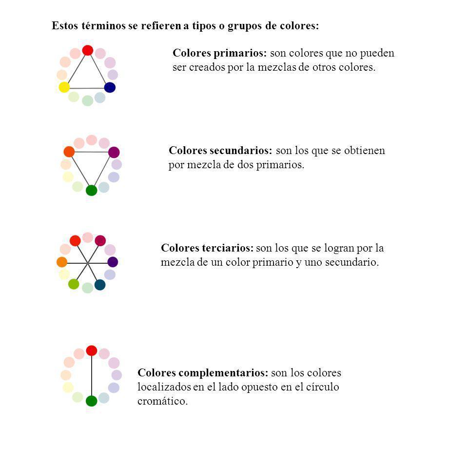 Estos términos se refieren a tipos o grupos de colores: