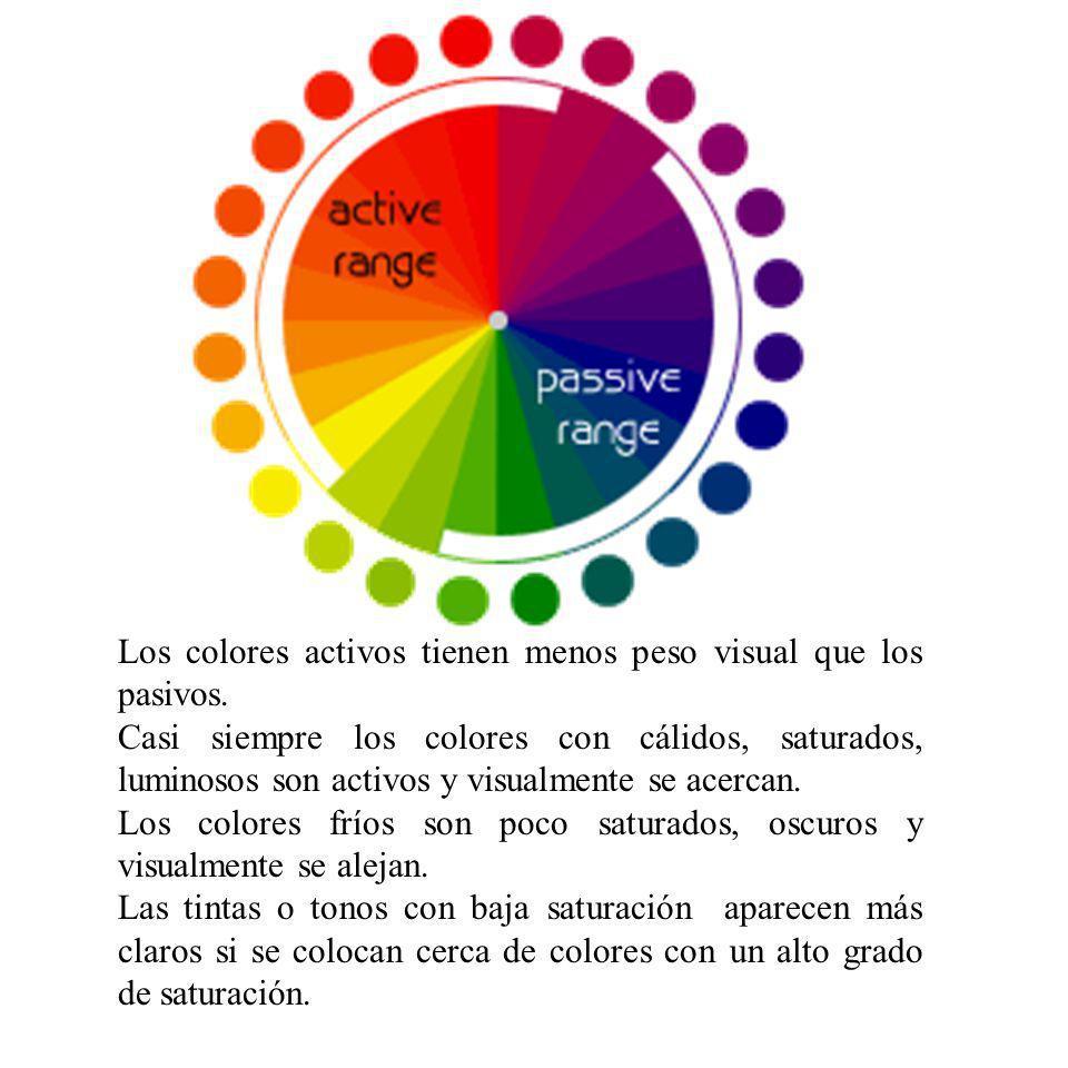 Los colores activos tienen menos peso visual que los pasivos.