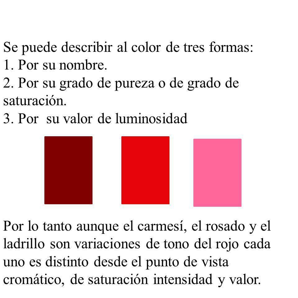 Se puede describir al color de tres formas: