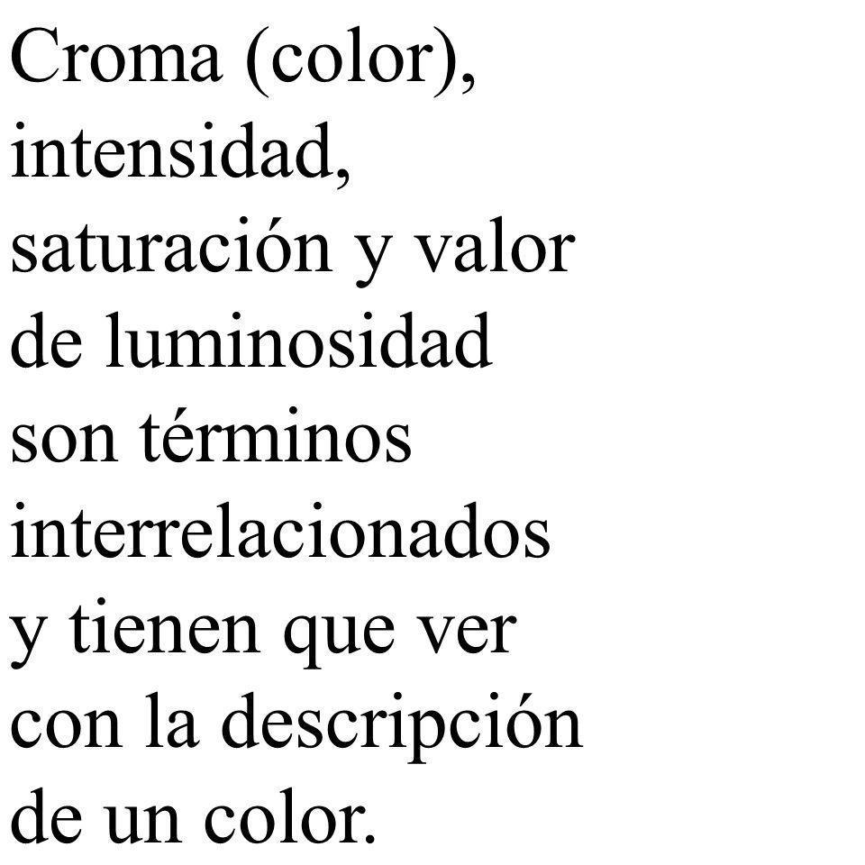 Croma (color), intensidad, saturación y valor de luminosidad son términos interrelacionados y tienen que ver con la descripción de un color.