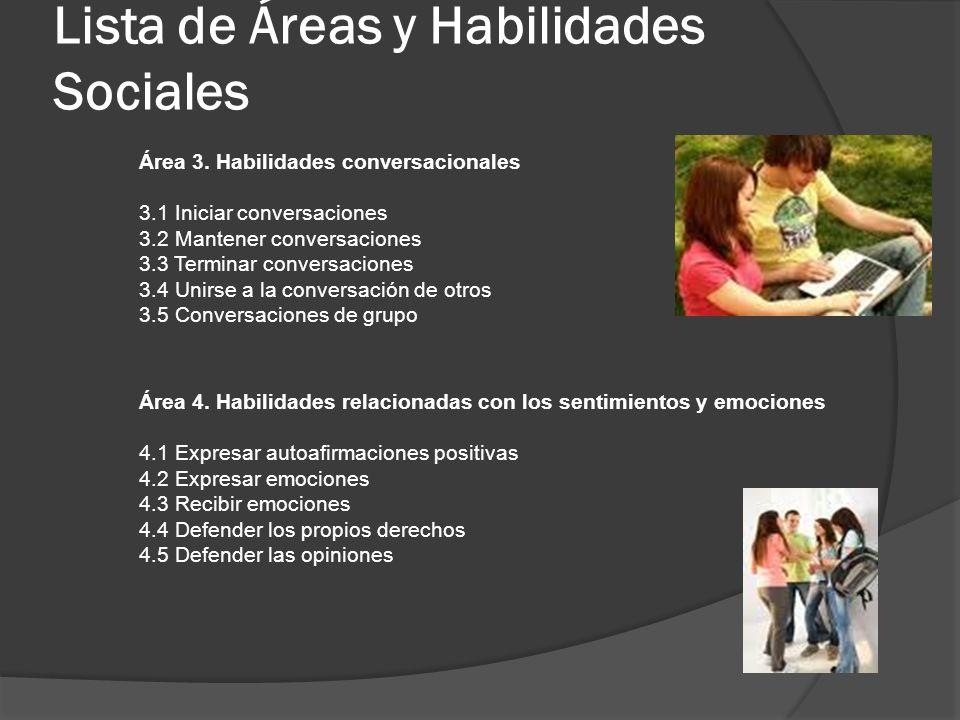 Lista de Áreas y Habilidades Sociales