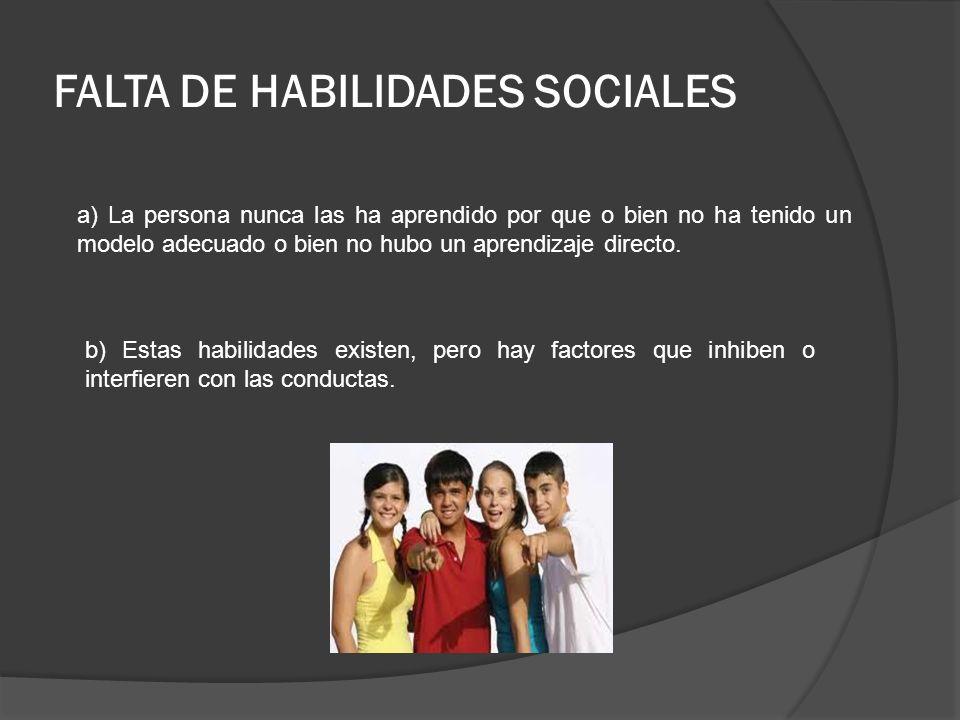 FALTA DE HABILIDADES SOCIALES