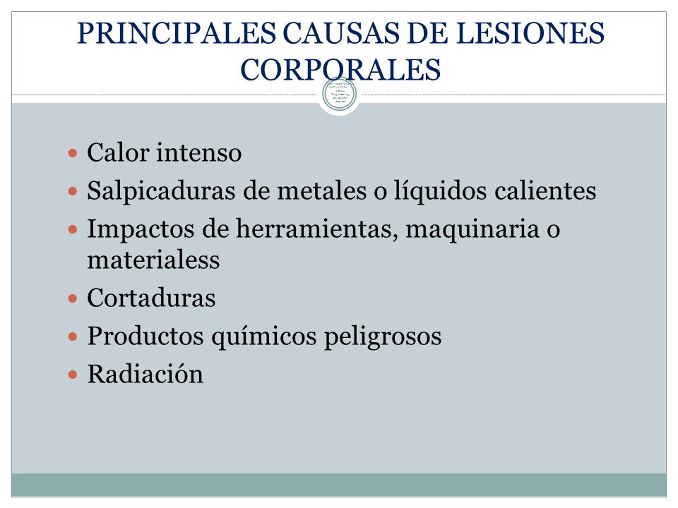 PRINCIPALES CAUSAS DE LESIONES CORPORALES