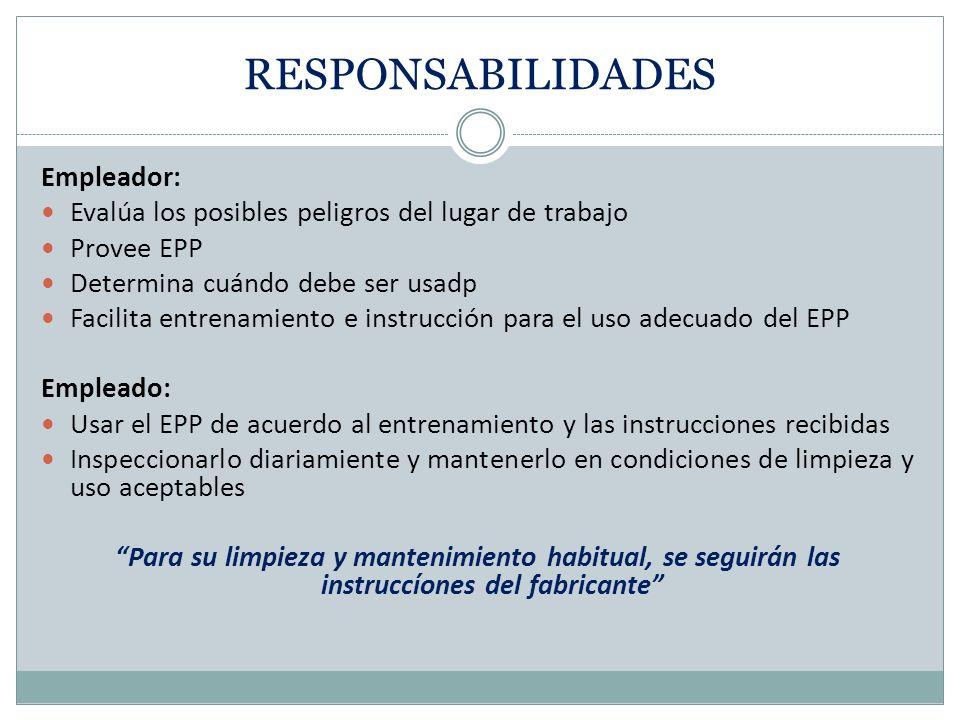 RESPONSABILIDADES Empleador:
