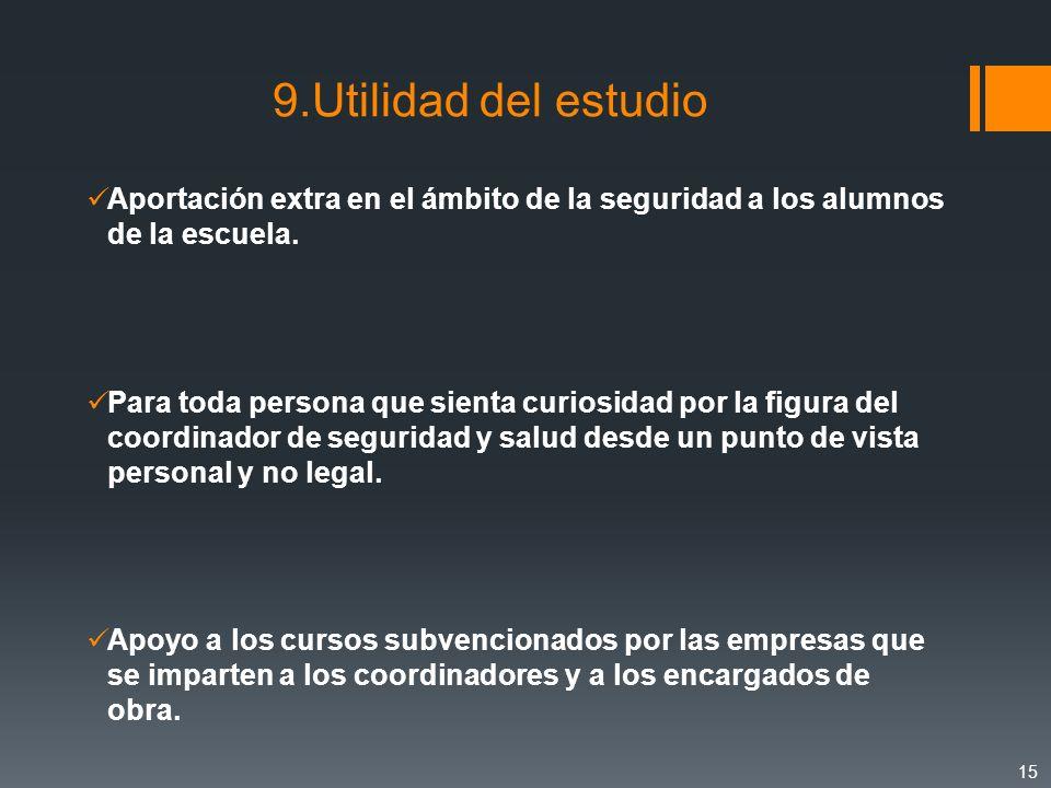 9.Utilidad del estudio Aportación extra en el ámbito de la seguridad a los alumnos de la escuela.