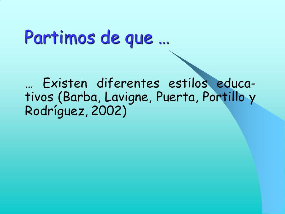 Partimos de que … … Existen diferentes estilos educa-tivos (Barba, Lavigne, Puerta, Portillo y Rodríguez, 2002)
