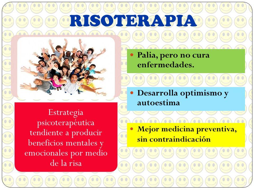 RISOTERAPIA Estrategia psicoterapéutica tendiente a producir beneficios mentales y emocionales por medio de la risa.