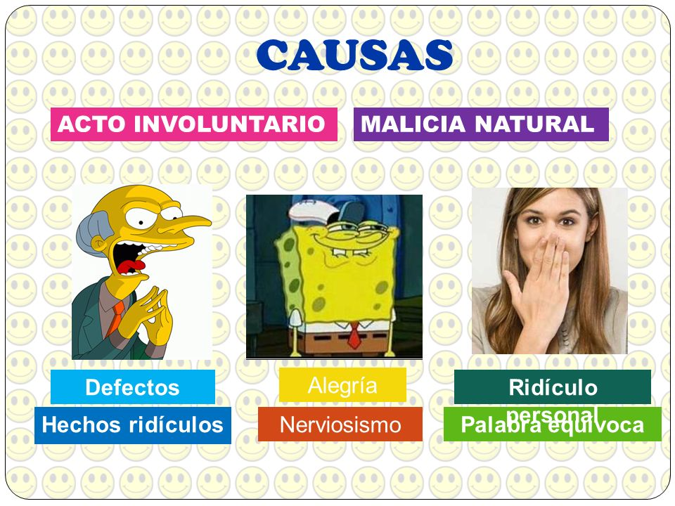 CAUSAS ACTO INVOLUNTARIO MALICIA NATURAL Defectos Alegría