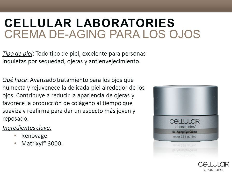 CELLULAR LABORATORIES CREMA DE-AGING PARA LOS OJOS