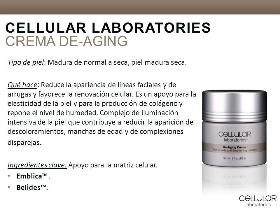 CELLULAR LABORATORIES CREMA DE-AGING