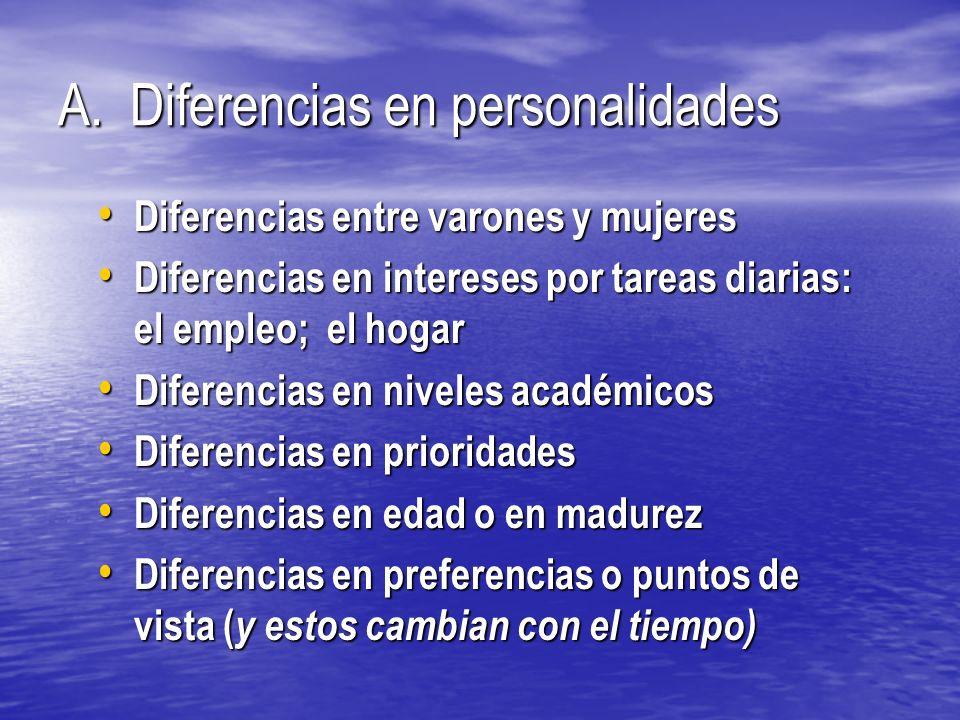 A. Diferencias en personalidades